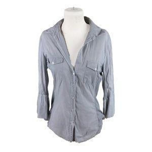 Standard James Perse 4 Sheer Slub Panel Shirt Gray